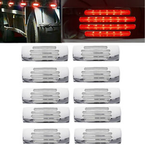 10pcs Red 22LED Waterproof Side Marker Clearance Light Lamp Truck Trailer 12V