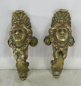 Antique French Pair Gilded Bronze Furniture Pediment Decoration Salvage 19th