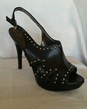 MARC FISHER 8.5 M Teron Black Slingbacks adjustable buckle studs detail shoe