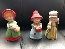 Jasco Merri Bells Bisque Porcelain Figurines Vintage 1978 Set Of 3