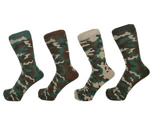Men Cotton Rich Camouflage Army Ankle Socks One Size 6 - 11