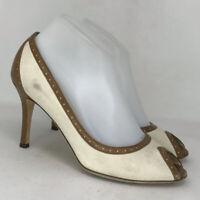 Kate Spade Womens Giselle Tan Brown Leather Pump Stiletto Heels Peep Toe Size 8M