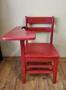 Vintage Child's Wood School Desk Right Hand Book Cubby Painted Red
