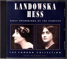 Myra HESS & Wanda LANDOWSKA Condon Collection BEETHOVEN BACH MOZART SCARLATTI CD