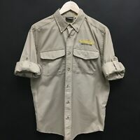 Mens Small CABELAS Safari Work Shirt Poly Cotton Roll Up Sleeves Haloween  20c