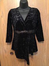 JTB Top Womens Size S Long Sleeve Crushed Velvet Sequins Solid Black Blouse