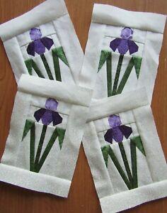 "4 Paper Pieced Purple Iris Flower quilt block 5 x 7 1/2"""