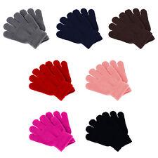 Kids Gloves Stretchy Knit Mittens Winter Boys Girls Children Plain Solid #20055