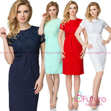 Women's Elegant Round Neck Short Sleeves Knee Lenght Midi Lace Dress FK1573
