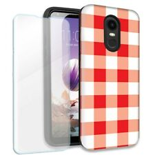 Red White Plaid Double Layer Case w/Tempered Glass Protector For LG Stylo 4