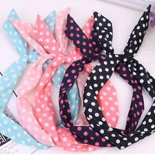 Korean hair accessories bow chiffon floral dot striped rabbit ears headband