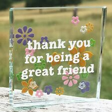 Spaceform Miniature Glass Token Thank You Great Friend Flowers Gift Box 1065
