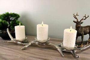 3 Piece Silver Metal Antler Candle Holder Centrepiece Home Decor