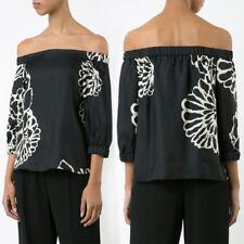 Tibi Women's Shirt Blouse Top Black Size 0 AU 6 Silk Off The Shoulder Orla Bloom