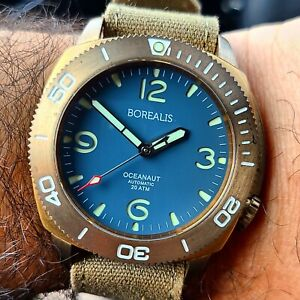 SOLD OUT Borealis Oceanaut Aluminum Bronze Teal Blue NH35 Automatic Diver Watch