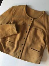 Free People Clothing Collarless Suede Jacket Golden Haz Womens - Sz M