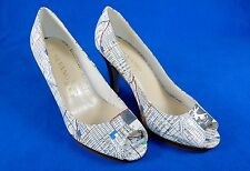 High Heels, Size 9M ~ White, Miami City Map Pattern, Silvano Gore Collection