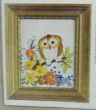 Vintage 1977 Owl on a Branch Crewel Embroidery Kit Caron with Frame 6028