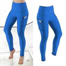 Mujeres Pantalones de Yoga Push Up cintura alta polainas de bolsillo Gimnasio De Entrenamiento Elastizado Pantalón