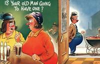 VINTAGE COMIC BAMFORTH IS YOUR OLD MAN GOING TO HAVE ONE BEER BABY etc POSTCARD