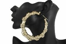Women Bamboo Earrings Gold Metal Hook Closer Large Hoop Urban Hip Hop Fashion