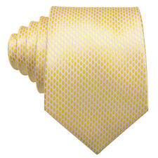 IVAN TROY Yellow Paisley Italian Classic Silk Jacquard Woven Tie With Cuflinks