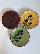 Saparna Olio Toscana Olives Ceramic Hand Painted Set of 3 Small Dipping Bowls