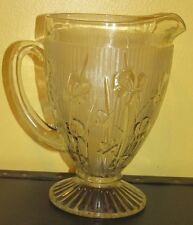 ~Vintage Jannette Clear Depression Glass Water Pitcher Iris Pattern~