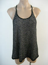 EILEEN FISHER Black Cotton Stretch Racerback Hi Lo Tank Top M Medium NWT $198