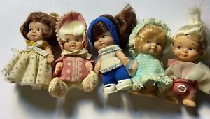 1965/1966 Five Pee Wee Pocket Size Dolls by Uneeda