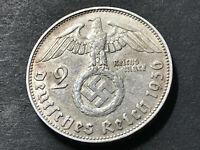 German Nazi coin 2 Reichsmark 1936 J  with big swastika 625 silver AG RARE!!!!