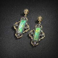 Boucles d`Oreilles Clous Gros Ethnic Art Deco Vert Gris Retro Vintage XX 7