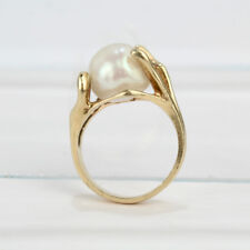 Modernist 14K Gold and Baroque Pearl Cocktail Ring - VR