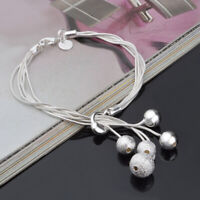 Women's 925 Silver Multilayer Snake Chain Scrub Beads Cuff Bangle Chain Bracelet