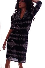 Womens Black White AZTEC Dress with Belt 3/4 Sleeve Polyester Spandex Large NEW