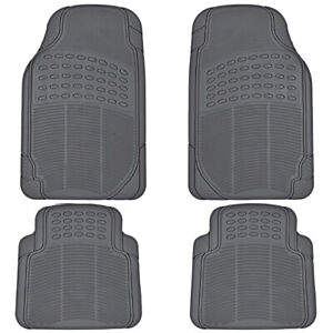 Car Rubber Floor Mats for All Weather Sedan SUV Truck 4 PC Set Trimmable Gray