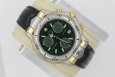 Tag Heuer 6000 CH1151 Mens Green Chronograph Leather Professional 18K Gold Watch