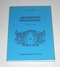 Edward Eugene Stolper ARGOMENTO MASSONERIA - Brenner Cosenza 1986