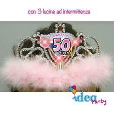 CORONA DIADEMA 50 ANNI con LED - Gadget idea regalo festa 50° Compleanno donna