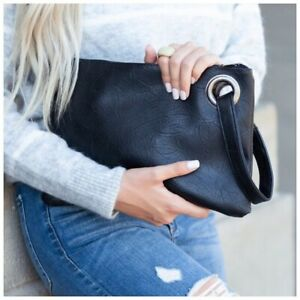 Oversized Large Black Clutch Wristlet Bag Casual Women Handbag