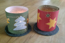 Bastelset 8 Weihnachts-Windlichter Prickeln 4 Bastelbogen mit Prickelfilz/-nadel