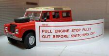 Land Rover Serie 2a 3 Dieselmotor Zug Stopp Warn Windschutz Aufkleber 595193