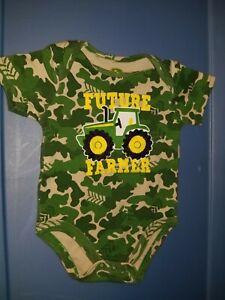 12 month FUTURE FARMER John Deere  Bodysuit Top boy Green camouflage 9