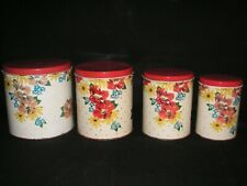 LOT OF 4 VINTAGE MCM METAL CANISTER SET FLOWERS RED YELLOW BLUE FLORAL POLKA DOT