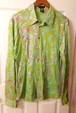 Custo Barcelona Women Long Sleeve Green Button Front Metallic Size 3
