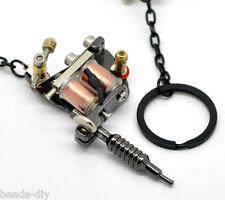 """New Gunmetal Mini Tattoo Machine Key Chains & Key Ring 5 7/8""""x1 5/8"""" Cute Mini 1"""