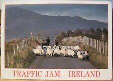 Irish Postcard TRAFFIC JAM IRELAND Sheep Bicycle Sanford John Hinde P&P 142 1990