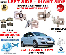 FOR SEAT TOLEDO Mk III 5P2 MPV 2004-2009 REAR LEFT + RIGHT BRAKE CALIPERS + PADS
