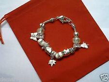 Silver/White Animals Insects Leaf Multi Charm Fashion Bracelet, BNWT Unbranded
