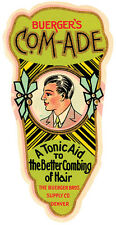 BUERGER'S COM-ADE TONIC AID TO BETTER COMBING HAIR MAN VINTAGE POSTER REPRO